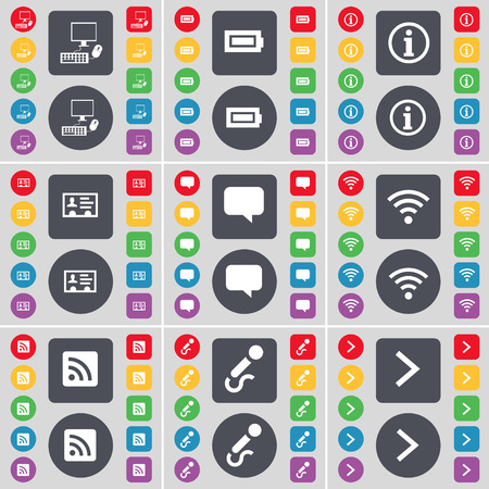 arrow right icon: PC, Battery, Information, Contact, Chat bubble, Wi-Fi, RSS, Microphone, Arrow right icon symbol. A large set of flat, colored buttons for your design. Vector illustration