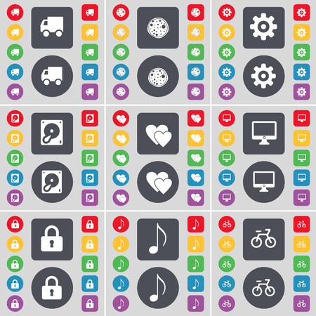 heart monitor: Truck, Pizza, Gear, Hard drive, Heart, Monitor, Lock, Note, Bicycle icon symbol. A large set of flat, colored buttons for your design. Vector illustration