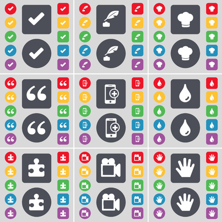 ink pot: Tick, Ink pot, Cooking hat, Quotation mark, Smartphone, Drop, Puzzle part, Film camera, Hand icon symbol. A large set of flat, colored buttons for your design. Vector illustration