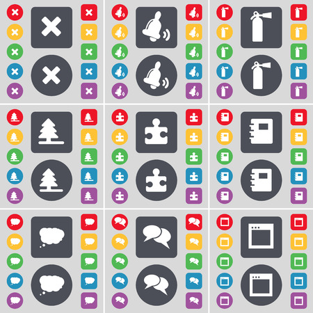 fire extinguisher symbol: Stop, Bell, Fire extinguisher, Firtree, Puzzle part, Notebook, Chat cloud, Chat, Window icon symbol. A large set of flat, colored buttons for your design. Vector illustration