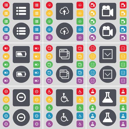 personne handicap�e: Liste, Nuage, appareil photo du film, de la batterie, Fen�tre, Fl�che bas, Mnus, handicap�, symbole Flacon ic�ne. Un vaste ensemble de plats, des boutons de couleur pour votre conception. Vector illustration Illustration