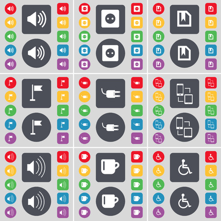 disabled person: Sound, Socket, File, Golf hole, Socket, Connection, Sound, Cup, Disabled person icon symbol. A large set of flat, colored buttons for your design. Vector illustration