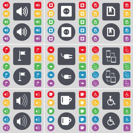 personne handicap�e: Sound, Socket, File, trou Golf, Socket, Connexion, Sound, Coupe, handicap�s symbole de l'ic�ne. Un vaste ensemble de plats, des boutons de couleur pour votre conception. Vector illustration