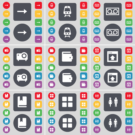 arrow right: Arrow right, Train, Cassette, Projector, Wallet, Window, Dictionary, Apps, Silhouette icon symbol. A large set of flat, colored buttons for your design. Vector illustration