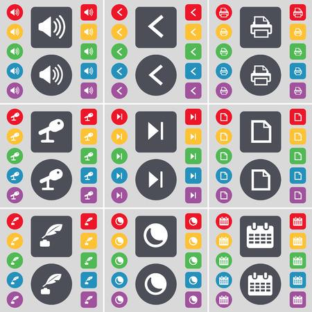 ink pot: Sonido, Flecha izquierda, impresora, Micr�fono, salto Media, Archivo, pote de tinta, la Luna, Calendario icono de s�mbolo. Un gran conjunto de planos botones, colores para su dise�o. Ilustraci�n vectorial Vectores