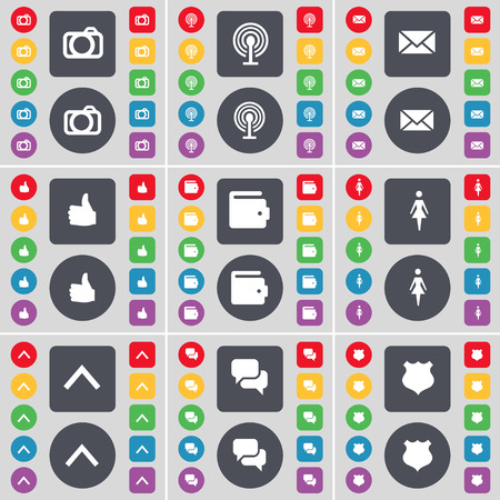 chat up: Camera, Wi-Fi, Message, Like, Wallet, Silhouette, Arrow up, Chat, Police badge icon symbol. A large set of flat, colored buttons for your design. Vector illustration