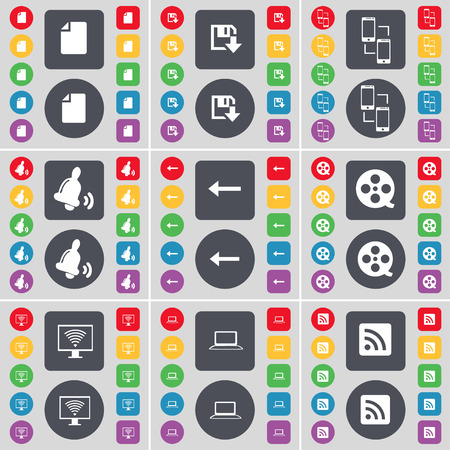 videotape: File, Floppy, Connection, Bell, Arrow left, Videotape, Monitor, Laptop, RSS icon symbol. A large set of flat, colored buttons for your design. Vector illustration Illustration