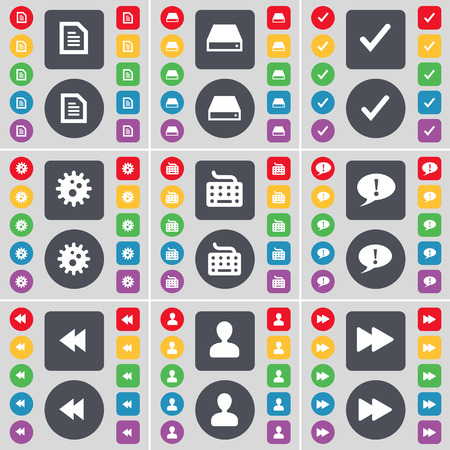 chat bubble vector: Text file, Hard drive, Tick, Gear, Keyboard, Chat bubble, Rewind, Avatar icon symbol. A large set of flat, colored buttons for your design. Vector illustration Illustration