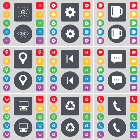 skip: Star, Gear, Cup, Checkpoint, Media skip, Chat bubble, Monitor, Recycling, Receiver icon symbol. A large set of flat, colored buttons for your design. Vector illustration