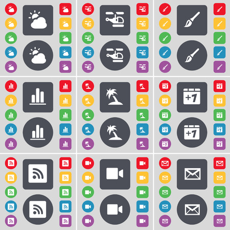 camera film: Cloud, Helicopter, Brush, Diagram, Palm, Plus one, RSS, Film camera, Message icon symbol. A large set of flat, colored buttons for your design. Vector illustration