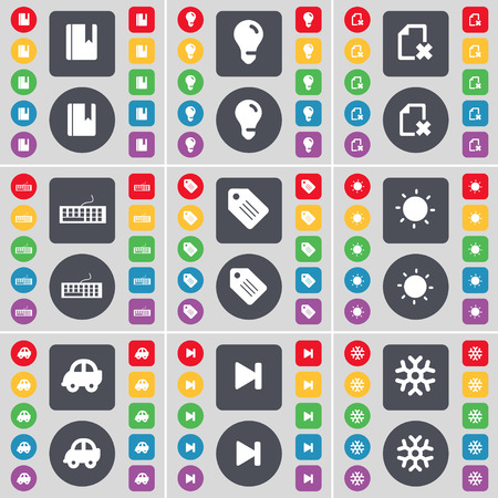 skip: Dictionary, Light bulb, File, Keyboard, Tag, Light, Car, Media skip, Snowflake icon symbol. A large set of flat, colored buttons for your design. Vector illustration