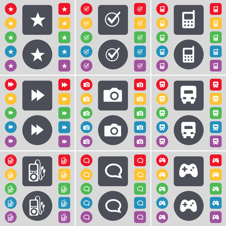 mp3 player: Star, Tick, Mobile phone, Rewind, Camera, Truck, MP3 player, Chat bubble, Gamepad icon symbol. A large set of flat, colored buttons for your design. Vector illustration