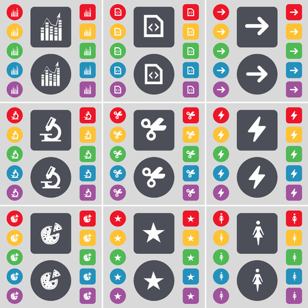 arrow right: Graph, File, Arrow right, Microscope, Scissors, Flash, Pizza, Star, Silhouette icon symbol. A large set of flat, colored buttons for your design. Vector illustration