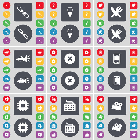 checkpoint: Link, Checkpoint, Fork and knife, Trumped, Stop, Mobile phone, Processor, Keyboard, Film camera icon symbol. A large set of flat, colored buttons for your design. Vector illustration