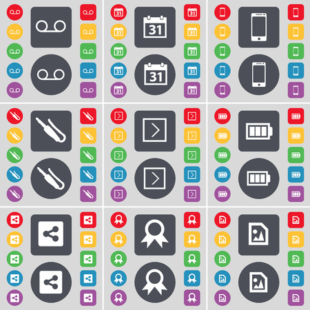 file share: Cassette, Calendar, Smartphone, Microphone connector, Arrow right, Battery, Share, Medal, Media file icon symbol. A large set of flat, colored buttons for your design. Vector illustration