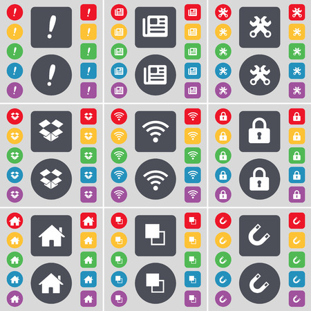 dropbox: Exclamation mark, Newspaper, Wrench, Dropbox, Wi-Fi, Lock, House, Copy, Magnet icon symbol. A large set of flat, colored buttons for your design. Vector illustration Illustration