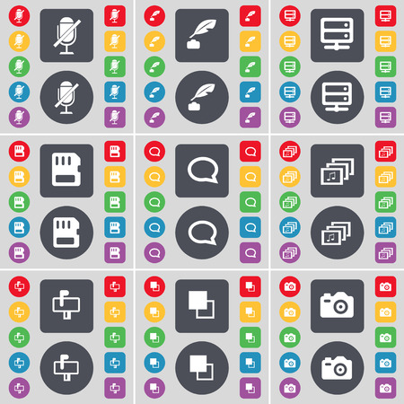 ink pot: Microphone, Ink pot, Server, SIM card, Chat bubble, Gallery, Mailbox, Copy, Camera icon symbol. A large set of flat, colored buttons for your design. Vector illustration