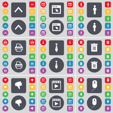 media player: Arrow up, Window, Silhouette, Printer, Tie, Trash can, Dislike, Media player, Mouse icon symbol. A large set of flat, colored buttons for your design. Vector illustration Illustration