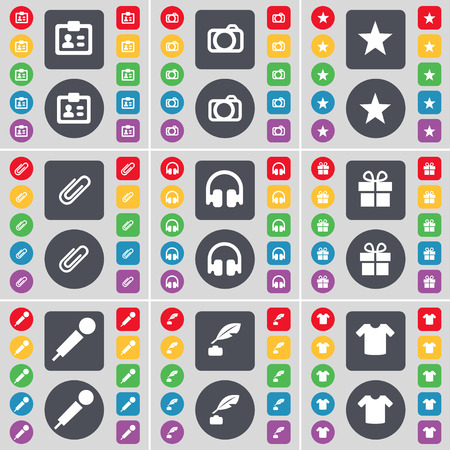 ink pot: Contact, Camera, Star, Clip, Headphones, Gift, Microphone, Ink pot, T-Shirt icon symbol. A large set of flat, colored buttons for your design. Vector illustration