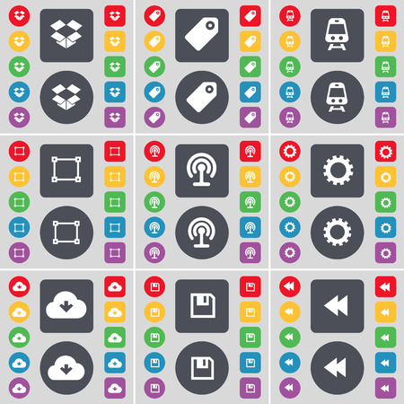 dropbox: Dropbox, Tag, Train, Frame, Wi-Fi, Gear, Cloud, Floppy, Rewind icon symbol. A large set of flat, colored buttons for your design. Vector illustration