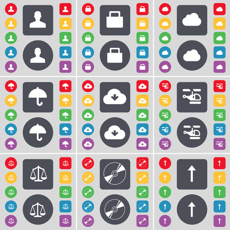 lock up: Avatar, Lock, Cloud, Umbrella, Helicopter, Scales, Disk, Arrow up icon symbol. A large set of flat, colored buttons for your design. Vector illustration Illustration