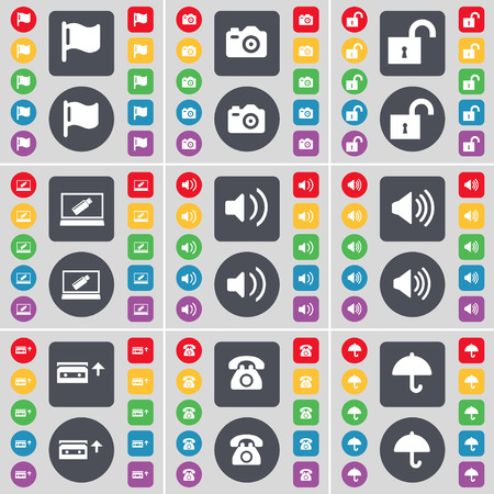 retro telefon: Flag, Camera, Lock, Laptop, Sound, Cassette, Retro phone, Umbrella icon symbol. A large set of flat, colored buttons for your design. Vector illustration Illustration