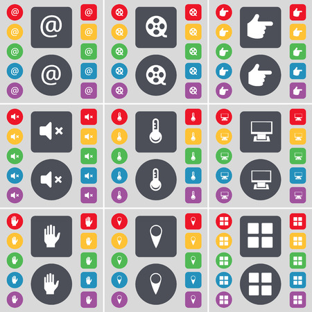 videotape: Mail, Videotape, Hand, Mute, Thermometer, Monitor, Hand, Checkpoint, Apps icon symbol. A large set of flat, colored buttons for your design. Vector illustration