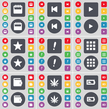 skip: Calendar, Media skip, Media play, Star, Exclamation mark, Apps, Wallet, Marijuana, Battery icon symbol. A large set of flat, colored buttons for your design. Vector illustration Illustration