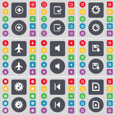 skip: Plus, Survey, Gear, Airplane, Sound, Floppy, Gear, Media skip, Media file icon symbol. A large set of flat, colored buttons for your design. Vector illustration Illustration