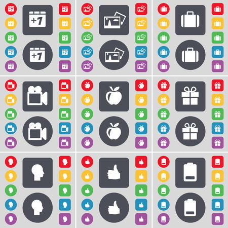 camera film: Plus one, Picture, Suitcase, Film camera, Apple, Gift, Silhouette, Like, Battery icon symbol. A large set of flat, colored buttons for your design. Vector illustration