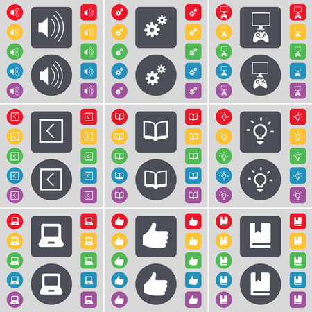 game console: Sound, Gear, Game console, Arrow left, Book, Light bulb, Laptop, Like, Dictionary icon symbol. A large set of flat, colored buttons for your design. Vector illustration
