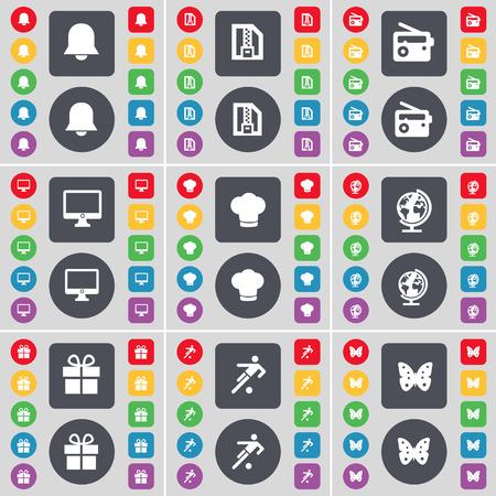 알림: Notification, ZIP file, Radio, Monitor, Cooking hat, Globe, Gift, Football, Butterfly icon symbol. A large set of flat, colored buttons for your design. Vector illustration