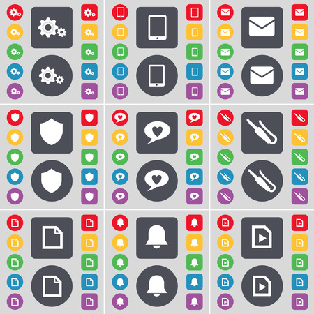 chat bubble: Gear, Tablet PC, Message, Badge, Chat bubble, Microphone connector, File, Notification, Music file icon symbol. A large set of flat, colored buttons for your design. Vector illustration