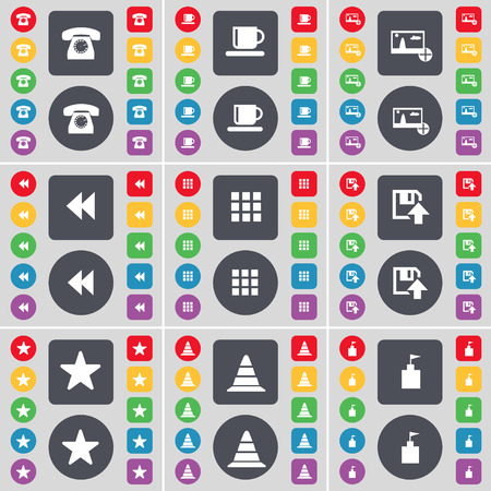 retro telefon: Retro phone, Cup, Picture, Rewind, Apps, Floppy, Star, Cone, Flag tower icon symbol. A large set of flat, colored buttons for your design. Vector illustration