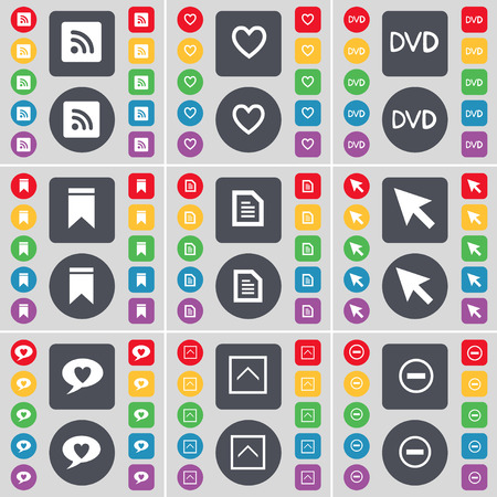 up marker: RSS, Heart, DVD, Marker, Text file, Cursor, Chat bubble, Arrow up, Minus icon symbol. A large set of flat, colored buttons for your design. Vector illustration