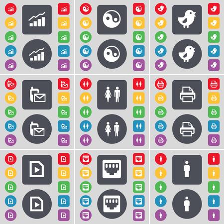 red lan: Gr�fico, Yin-Yang, P�jaro, SMS, Silueta, impresora, archivo, icono de conexi�n LAN s�mbolo. Un gran conjunto de planos botones, colores para su dise�o. Ilustraci�n vectorial