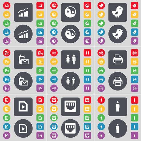 lan: Graph, Yin-Yang, Bird, SMS, Silhouette, Printer, File, LAN socket icon symbol. A large set of flat, colored buttons for your design. Vector illustration