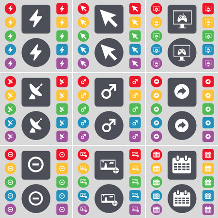game console: Flash, Cursor, Game console, Satellite dish, Mars symbol, Back, Minus, Picture, Calendar icon symbol. A large set of flat, colored buttons for your design. Vector illustration