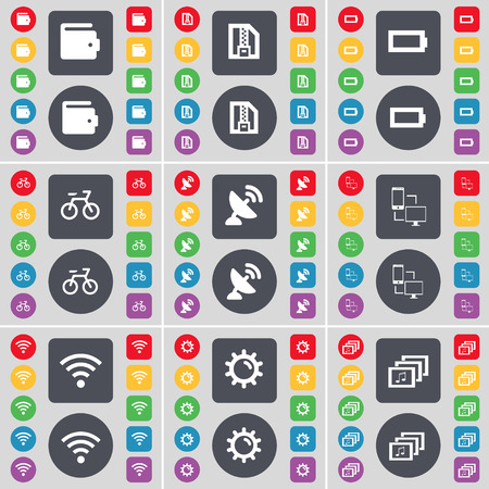 satellite dish: Wallet, ZIP card, Battery, Bicycle, Satellite dish, Connection, Wi-Fi, Gear, Gallery icon symbol. A large set of flat, colored buttons for your design. Vector illustration