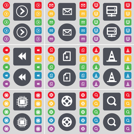 arrow right: Arrow right, Message, Server, Rewind, Upload file, Cone, Processor, Videotape, Magnifying glass icon symbol. A large set of flat, colored buttons for your design. Vector illustration Vettoriali