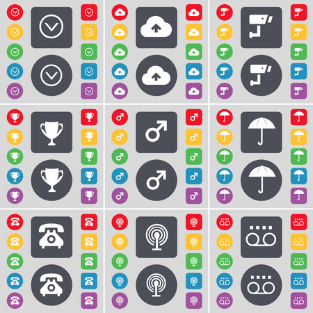 arrow down: Arrow down, Cloud, CCTV, Cup, Mars symbol, Umbrella, Retro phone, Wi-Fi, Cassette icon symbol. A large set of flat, colored buttons for your design. Vector illustration