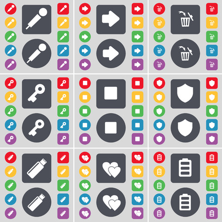 arrow right: Microphone, Arrow right, Trash can, Key, Media stop, Badge, USB, Heart, Battery icon symbol. A large set of flat, colored buttons for your design. Vector illustration