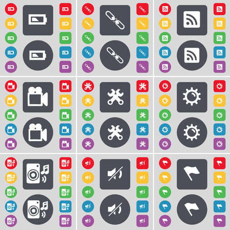 camera film: Battery, Link, RSS, Film camera, Wrenches, Gear, Speaker, Mute, Flag tower icon symbol. A large set of flat, colored buttons for your design. Vector illustration