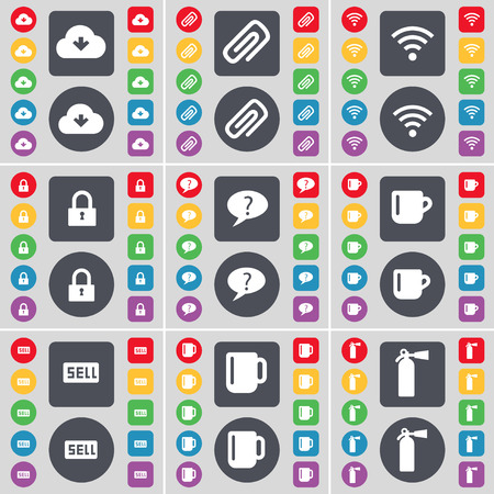 fire extinguisher symbol: Cloud, Clip, Wi-Fi, Lock, Chat bubble, Cup, Sell, Cup, Fire extinguisher icon symbol. A large set of flat, colored buttons for your design. Vector illustration