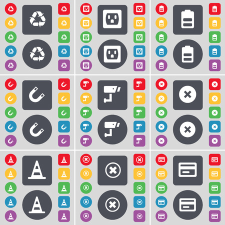 card stop: Recycling, Socket, Battery, Magnet, CCTV, Stop, Cone, Stop, Credit card icon symbol. A large set of flat, colored buttons for your design. Vector illustration