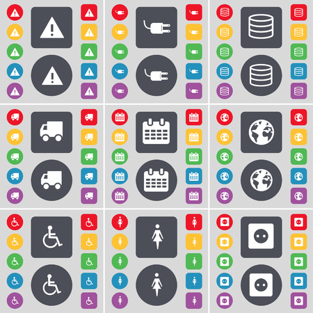 disabled person: Warning, Socket, Database, Truck, Calendar, Earth, Disabled person, Silhouette, Socket icon symbol. A large set of flat, colored buttons for your design. Vector illustration