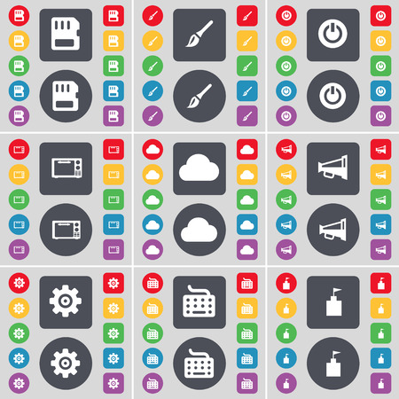 sim card: SIM card, Brush, Power, Microwave, Cloud, Megaphone, Gear, Keyboard, Flag tower icon symbol. A large set of flat, colored buttons for your design. Vector illustration Illustration