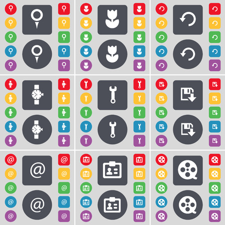 orologio da polso: Checkpoint, Flower, Reload, Wrist watch, Wrench, Floppy, Mail, Contact, Videotape icon symbol. A large set of flat, colored buttons for your design. Vector illustration
