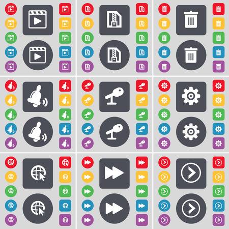 media player: Media player, ZIP file, Trash can, Bell, Microphone, Gear, Web cursor, Rewind, Arrow right icon symbol. A large set of flat, colored buttons for your design. Vector illustration Illustration