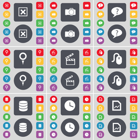 chat bubble: Stop, Camera, Chat bubble, Checkpoint, Clapper, Mouse, Database, Clock, Graph file icon symbol. A large set of flat, colored buttons for your design. Vector illustration